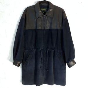 Vintage Danier Blue Suede & Leather Jacket Medium